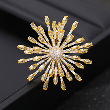 Dress Brooch Jewelry Pins Crystal-Pin Wedding-Bouquet Gift Pink Gorgeous Snowflake Yellow