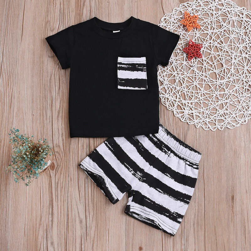 2019 Hot Summer Kids Boy <font><b>Tshirt</b></font>+Short 2pcs <font><b>Set</b></font> Casual Suit Toddler Kid Children Pocket Decor+Striped Print Clothing Costume 0-2T image