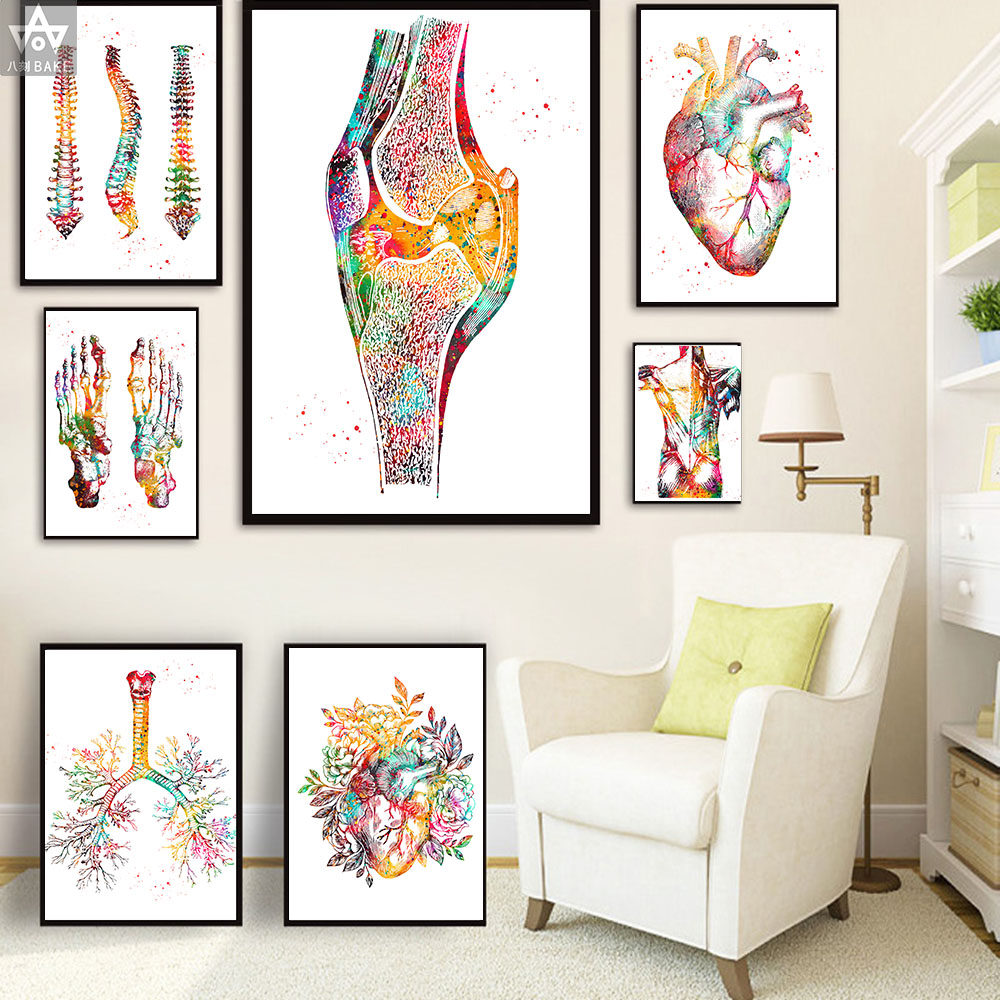 Human Anatomy Muscles System Wall Art Canvas Painting Posters And Prints Body Map Wall Pictures Medical Education Home Decor