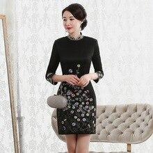 Vestido דה נשף סתיו 2020 חדש אופנה רטרו שמלת Cheongsam איכות גבוהה סוף מפעל מכירה ישירה נשים עם תשע שרוולים