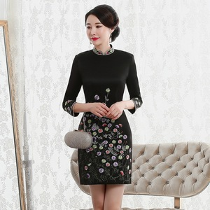 Image 1 - Vestido De Debutante Autumn 2020 New Fashion Retro Cheongsam Dress Quality High end Factory Direct Sale Women With Nine Sleeves