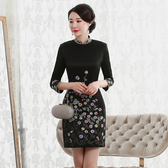 Vestido De Debutante Autumn 2020 New Fashion Retro Cheongsam Dress Quality High end Factory Direct Sale Women With Nine Sleeves