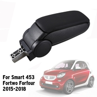 Car Storage Box, Leather Armrest Box for Smart 453 Fortwo Forfour 2015 2018 Interior Accessories Black
