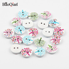 50Pcs 15mm Mixed Tree Painted Wooden Buttons For Crafts Baby Clothing Sewing Accessories Scrapbooking DIY Needlework Buttons