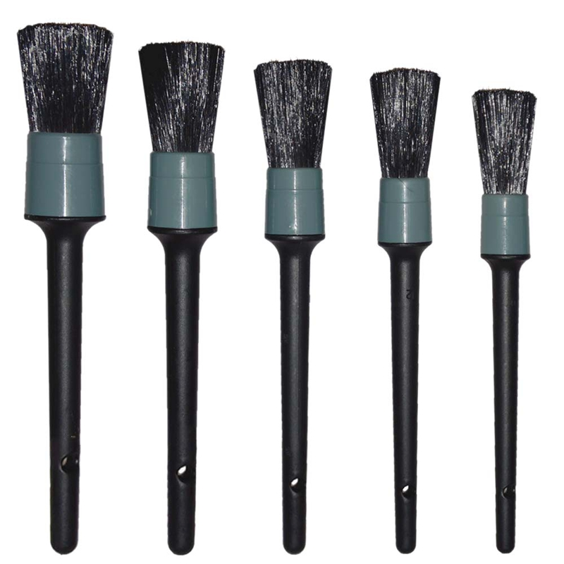 Auto Care Natural Boar Hair Detail Brush(Set Of 5),Premium Detail Brushes For Cleaning Wheels/Engine/Interior/Emblems/Interior