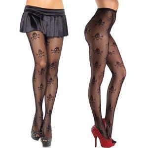Hot Women's Sexy Tights Halloween Skulls Printed Mesh Ultra Sheer Stockings Open Net Pantyhose Tights Designer Tights Stocking