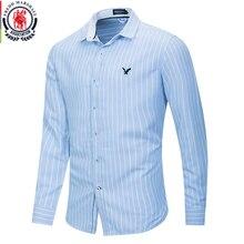 Fredd Marshall 2020 Nieuwe Mode Borduren Overhemd Mannen Toevallige Lange Mouwen Gestreept Shirt Mannelijke 100% Katoen Business Dress Shirts 221