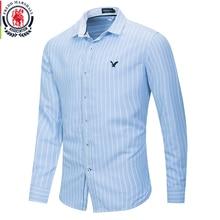 Fredd Marshall chemise brodée à manches longues à rayures pour hommes, 2020 coton, tenue daffaires, décontracté, nouvelle mode 100%