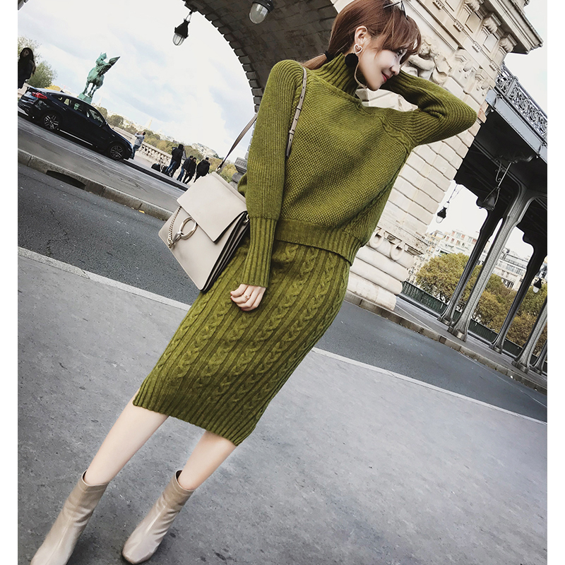 Knitting Skirt Suit 2 Piece Set Women Long Sleeve Turtleneck Pullover Sweater Split Pencil Top And Dress Winter Autumn Clothing