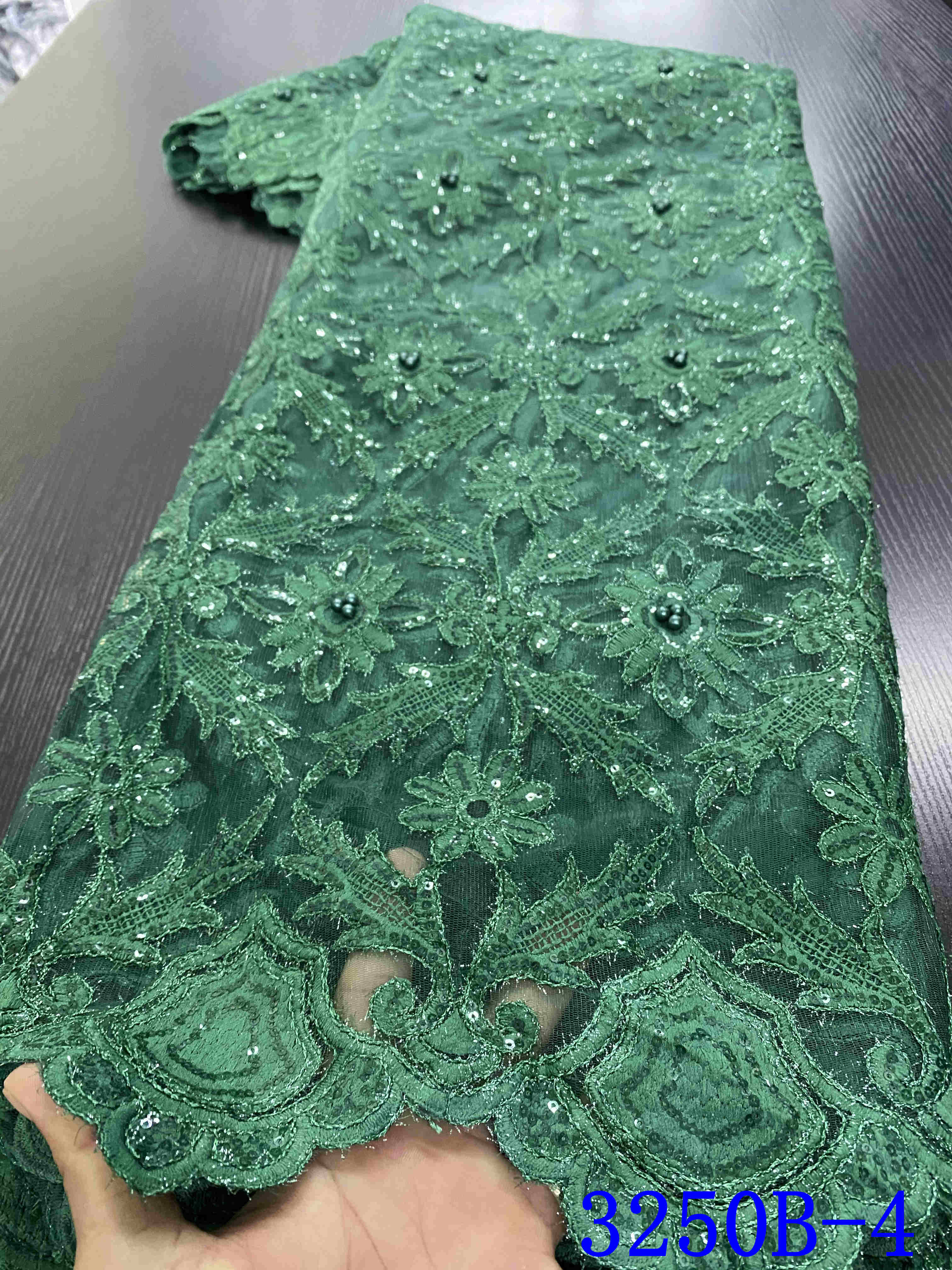 African Beaded Lace Fabric Nigerian French Lace Fabric 2020 High Quality Lace Embroidery Tulle Lace Material For Dress YA3250B-4