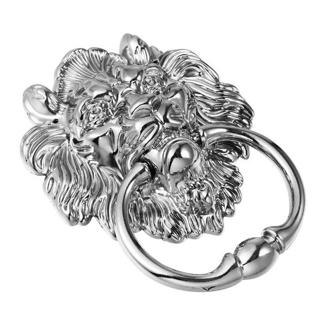 1 pc Front Door Handle Antique Silver Tone Lion Head Zinc Alloy Pull Ring Door Knocker Door Handle for Drawer Cabinet 3