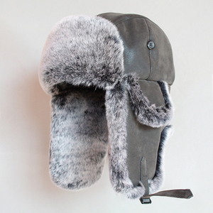 Image 2 - Winter Bomber Hoeden Vintage Russische Ushanka Caps Mannen Vrouwen Faux Fur Trapper Hoed Pu Leer Wind Proof Oorklep Trooper Hoeden