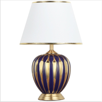 Chinese Style Purple Gold Stripes Ceramic Table Lamp For Bedroom Bedside Living Room Foyer Study Desk Reading Night Light 190179