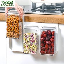 WBBOOMING Big Capacity Hanging Plastic Sealed Cans Kitchen Storage Box Concave Stackable Food Canister Fresh New Clear Container