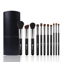 DUcare New Professional Makeup Brush Set 11pcs High Quality Makeup Tools Kit with Top Leather Bag Copper Ferrule недорого