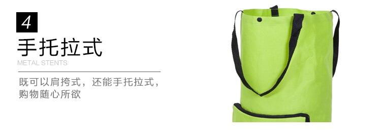 carro supermercado portátil roda cinto verde saco de compras