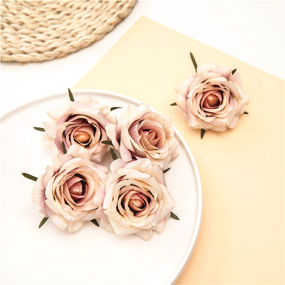 5pcs Artificial Silk Fake Roses Flower Faux Home Decor Heads DIY Wedding.