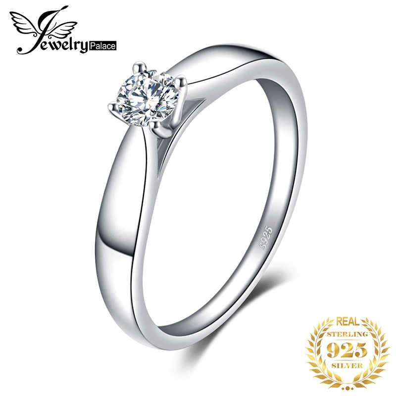 JewelryPalace CZ Solitaire หมั้นแหวน 925 เงินสเตอร์ลิงแหวนเงินผู้หญิงแหวนแหวนเงิน 925 เครื่องประดับ
