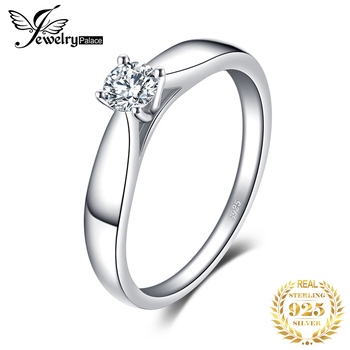 JewelryPalace CZ Solitaire Engagement Ring 925 Sterling Silver Rings for Women Anniversary Wedding Jewelry