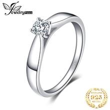Jewelrypalace стерлингового серебра 925 0.2ct кубического циркония Пасьянс Обручение кольцо для девочки модные простые украшения для Для женщин кольцо