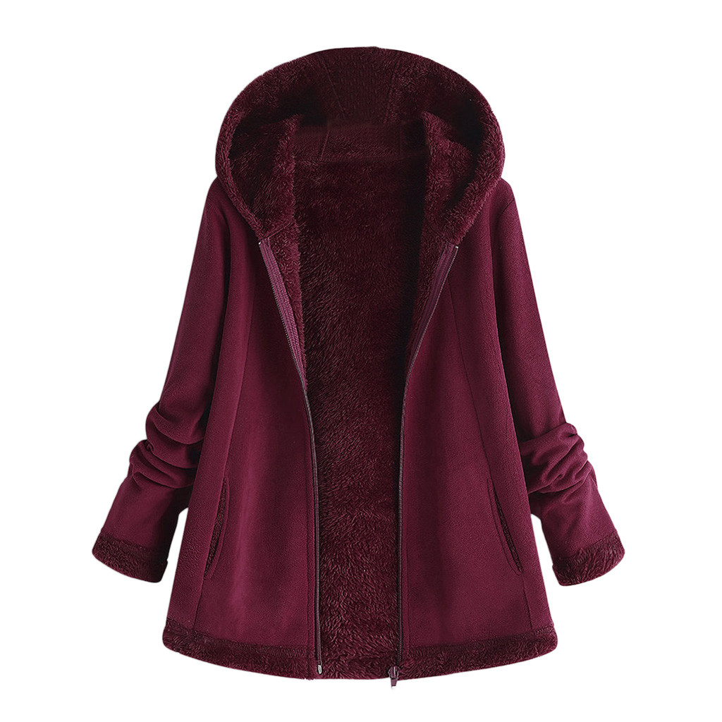 H6236fc78896e4472bbef1712709f3c36g women's autumn jacket Winter warm solid Plush Hoodie Coat Fashion Pocket Zipper Long Sleeves outwear manteau femme plus size 5XL