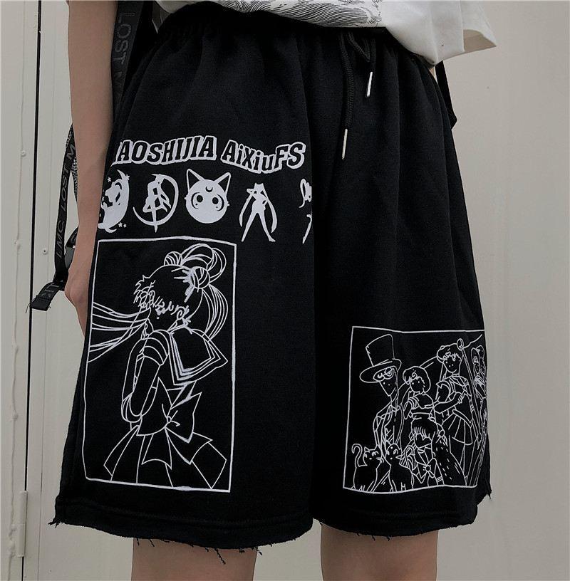 Шорты женские летние с высокой талией, уличная одежда с мультяшным принтом Сейлор Мун, повседневные свободные прямые с эластичным поясом