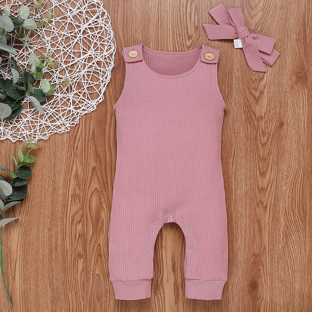 2020 Bebé Ropa de verano recién nacido bebé niña niño mono de salto sin mangas de lana blanca + diadema acanalada ropa conjunto