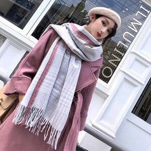 Женский шерстяной шарф из кашемира и шелка, зимний пляжный солнцезащитный платок, милый шарф, новинка 2019