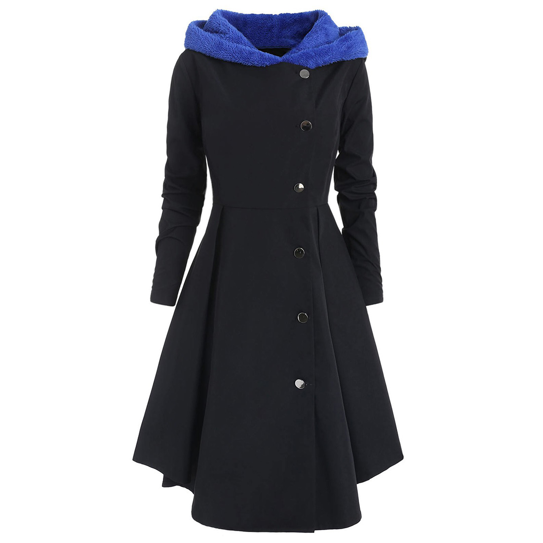 Thicken Vintage High Waist Soft Warm Shopping Daily Solid Casual Long Women Coat Button Hooded Slim