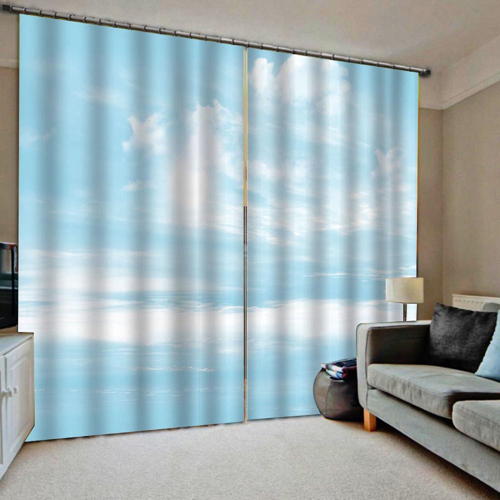 white blue curtains cloud curtain 3D Curtain Luxury Blackout Window Curtain Living Room  Blackout curtain