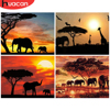 HUACAN Painting By Numbers Elephants Animals DIY Modern Wall Art Hand Painted Acrylic Sunset Picture For Home Decoration