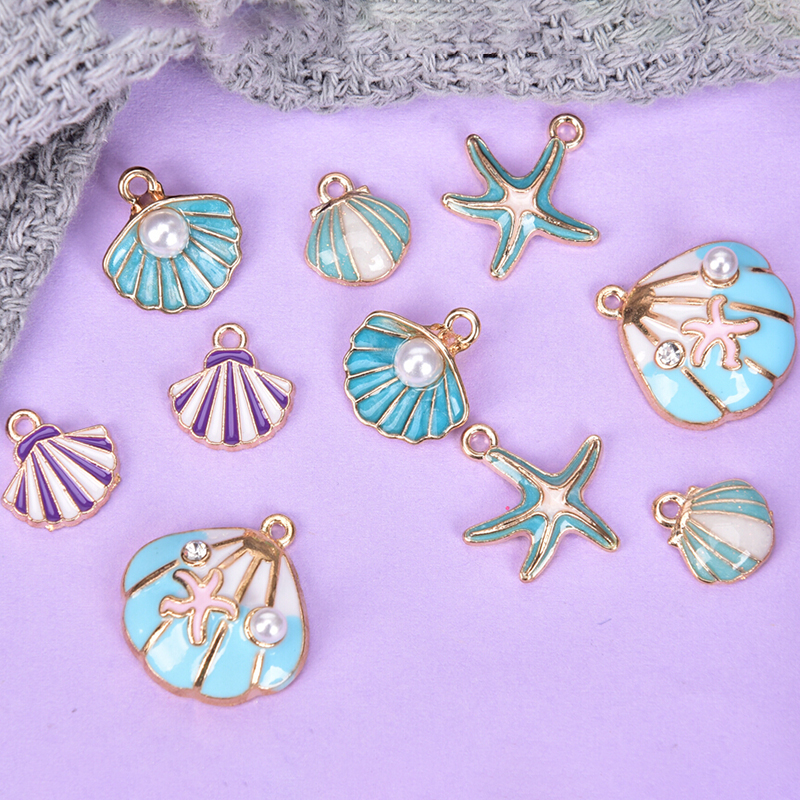10pcs Ocea Enamel Sea Starfish Shell Conch Hippocampus Charms Colorful Oil Drop Pendant For DIY Jewelry Accessories