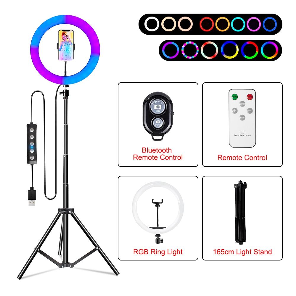 de luz cores selfie anel luzes tripé