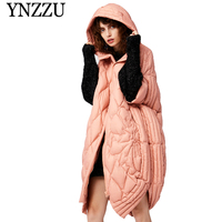 YNZZU 2019 Winter New Fashion Hooded Goose down coat Short sleeve Pink Loose Oversize Down jacket Warm Long Female Overcoat O916