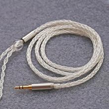 3.5mm MMCX HiFi אוזניות אודיו כבל 8 גדיל טהור נחושת כסף מצופה כבל לערבב קלוע Audiophile שדרוג כבל