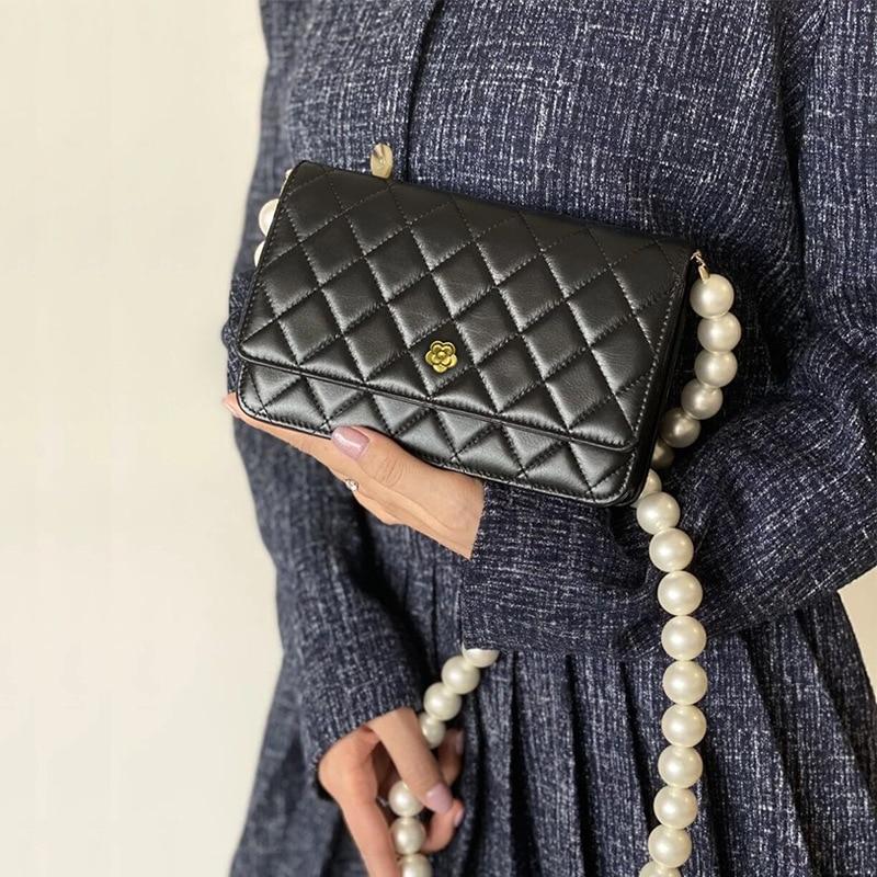 Bag For Women Classic Ladies Handbag High Quality Caviar Flap Shoulder Bag Square Stripe Chain Pearl Chain Bag-BeeInFly