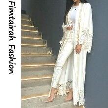 Müslüman dantel Maxi elbise beyaz Abaya kadın hırka inci nakış uzun elbiseler tunik Kimono Jubah ramazan arap İslami giyim