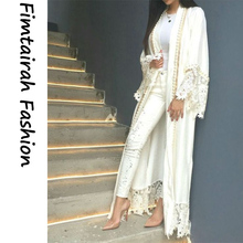 Muslim Lace Maxi Dress White Abaya Women Cardigan Pearl Embroidery Long Robes Tunic Kimono Jubah  Ramadan Arab Islamic Clothing