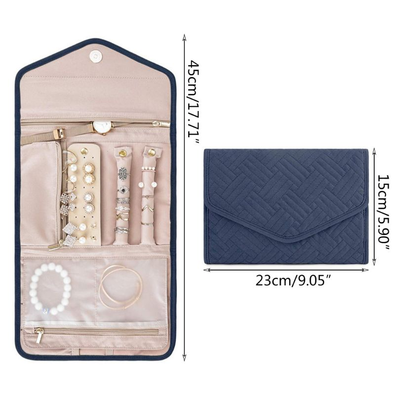 Travel Jewelry Organizer Roll Foldable Jewelry Case