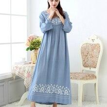 Женская длинная ночная рубашка из хлопка, свободная и удобная ночная рубашка с длинными рукавами для весны и осени