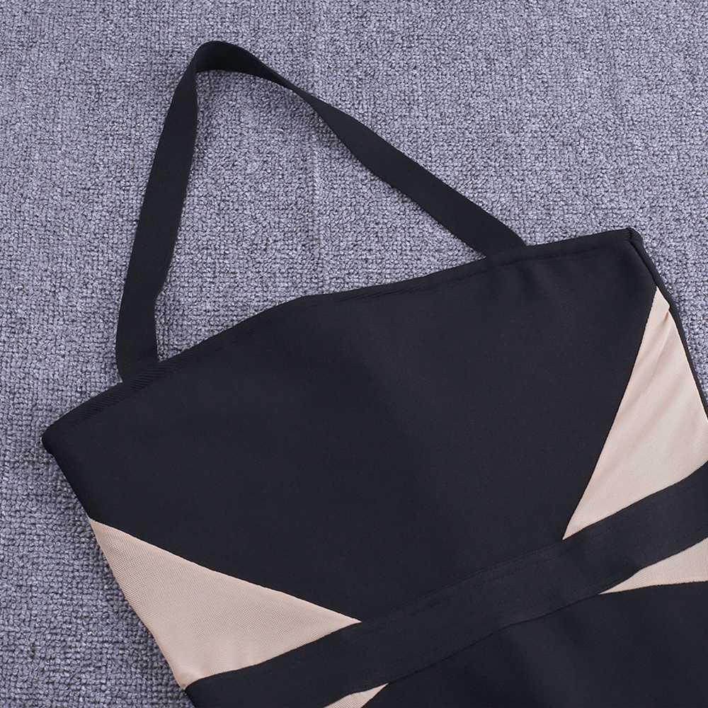 Cerf dame Bandage robes 2019 nouveaux arrivants été maille noir moulante robe partie Sexy Xl licou Bandage robe rayonne