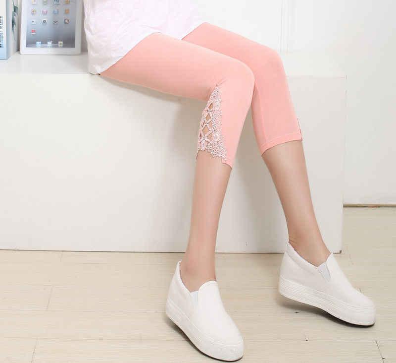 Gorąca sprzedaż lato koronki szczupła wysoka talia kobiety Crop 3/4 długość legginsy ubrania damskie na co dzień Capri przycięte modalne wysokiej jakości spodnie