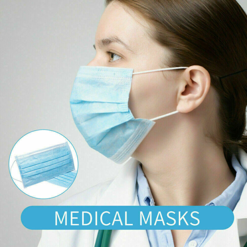 50PCS Disposable Protective Mask 3 Layers Dustproof Facial Protective Cover Masks Maldehyde Prevent Bacteria Anti-virus Masks