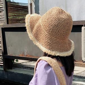 Одноцветный светильник, простая шляпа, соломенная шляпа вязаная крючком Солнцезащитная шляпа в рыбацком стиле, шляпа для бассейна, летняя ж...