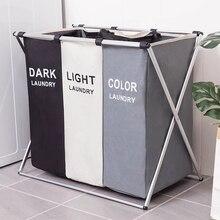 Cesto de almacenaje de ropa sucia, organizador de tres rejillas, cesto plegable, cesto de lavandería grande, cesta de lavandería impermeable para el hogar saco ropa sucia