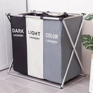 Image 1 - Cesto de almacenaje de ropa sucia, organizador de tres rejillas, cesto plegable, cesto de lavandería grande, cesta de lavandería impermeable para el hogar saco ropa sucia