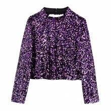 New 2020 women stand collar sequins short blouse wo