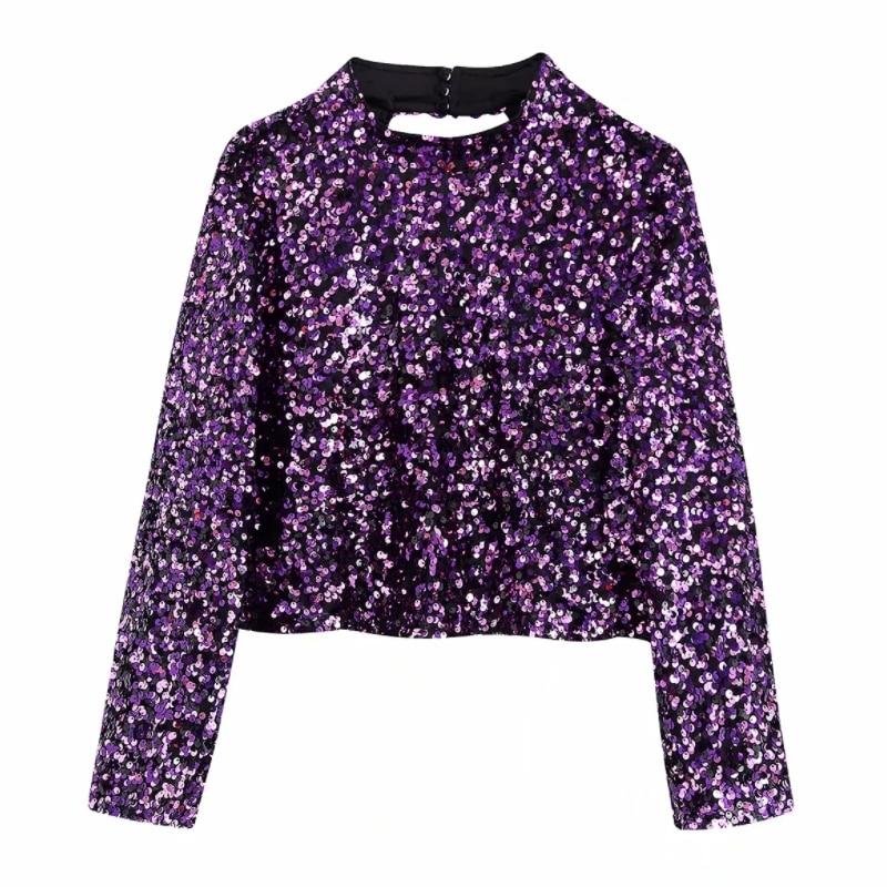 New 2020 Women Stand Collar Sequins Short Blouse Women Sexy Backless Chic Shirt Three Quarter Sleeve Brand Femininas Tops LS6133