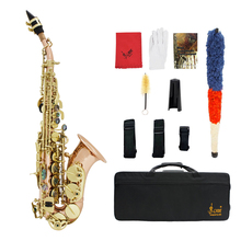 Bb Soprano Saxophone Sax Phosphor Copper Woodwind Instrument with Case Gloves Cleaning Cloth Brush Sax Strap Mouthpiece Brush