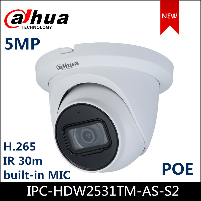 Dahua IP Camera IPC-HDW2531TM-AS-S2 5MP Lite IR Fixed-focal Eyeball Network Camera Starlight Built-in Mic Support POE